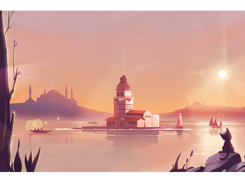 Kiz Kulesi digital art design background color turkey kiz kulesi istanbul nature landscape digitalart artwork illustration