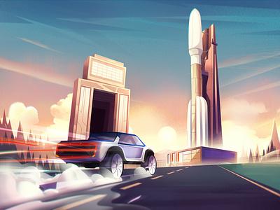 Rocket nature landscape conceptart illustration artwork rocketship scifi syfy escape space rocket