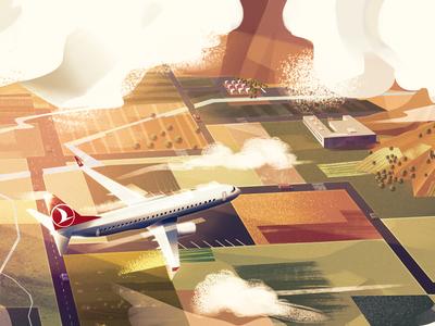 Turkish Airlines Still Frame airlines landscape nature digitalart conceptart art artwork illustration background plane sky turkish airlines