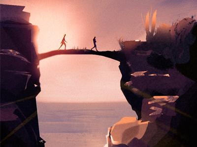 Bridge animation game landscape nature digitalart conceptart art artwork illustration background love bridge