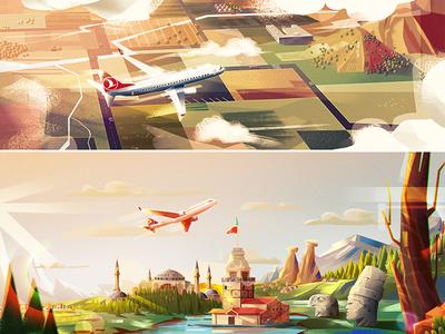 Turkish Airlines turkish airlines animation landscape nature digitalart conceptart art artwork illustration background plane airline