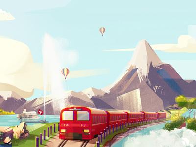 Switzerland mountain train landscape nature digitalart conceptart art artwork illustration background switzerland