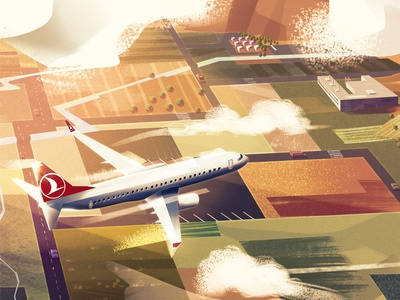 Turkish Airlines Detail fly turkish airlines plane environment landscape nature digitalart conceptart art artwork illustration background