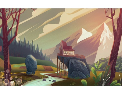 Evening environment landscape nature digitalart conceptart art artwork illustration background