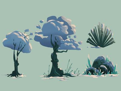 Winter Plants stone plant tree nature digitalart conceptart art artwork illustration background