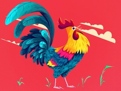 Rooster characters digital art sketch vector flat chicken rooster character