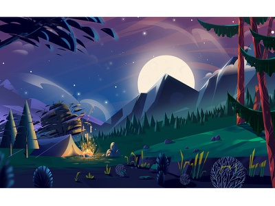 Enviroment Design vector painting digital art concept art animation environment tree illustration jungle landscape