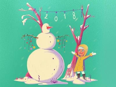 2018 holiday illustration snowman characterdesign girl winter snow xmas christmas 2018