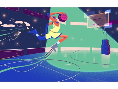 Euro Lig player color line graphic doodle court sport work basketball illustration motion graphics
