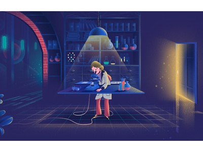 Chemist lab chemist woman color line graphic doodle landscape work home illustration motion graphics