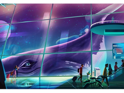 Airport nature character design color whale graphic flying landscape tree work airport illustration motion graphics