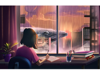 Girl And Whale work girl whale city graphics motion skycarper landscape illustration home graphic color