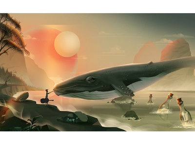Touch nature stone color graphic doodle landscape tree work sea illustration whale motion