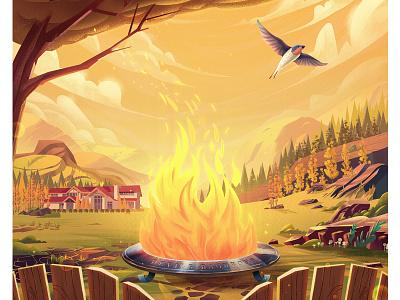Db sky camp fire bonfire campfire tree nature environment landscape branding bird