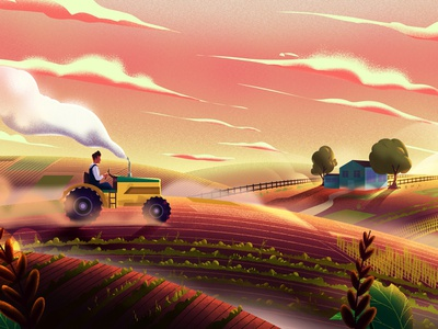 Farm cloud mountain plant tractor farm character design color background nature landscape digitalart artwork illustration