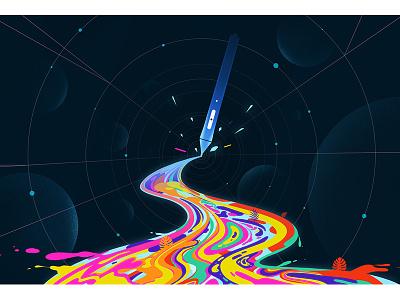 Digital World pencil pen wacom color digitalart nature landscape artwork illustration