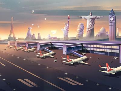Turkish Airlines Illustrations- 01 digital art character design color conceptart background digitalart nature landscape artwork illustration