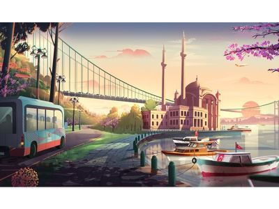 Turkish Airlines Illustrations 04 digital art character design color conceptart background digitalart nature landscape artwork illustration