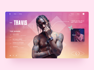 Travis Scott Page neon light neon gradient ui ux web design songwriter singer newmusic artist fashion rapper rap musician music travis scott