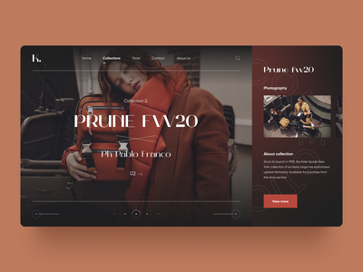 Prune fw20 online store online shop mode trend look model website web ui ux concept ecommerce clothes brown slider homepage webdesign fashion
