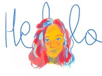 Hello Dribbble photoshop blue yellow girl hello dribbble hello drawing doodle digital illustration colourful art 2d portrait woman face sketch typography illustration debuts debut