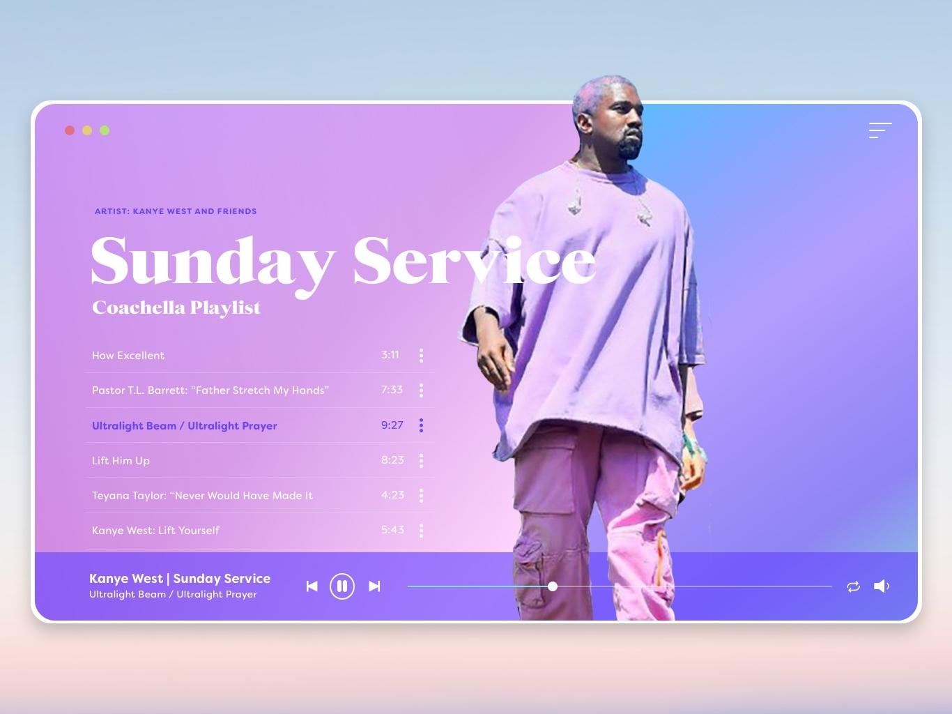 Sunday Service   Music Player Desktop Design sketch conceptual audio player web design mockup design uidesign desktop kanyewest desktop app music player