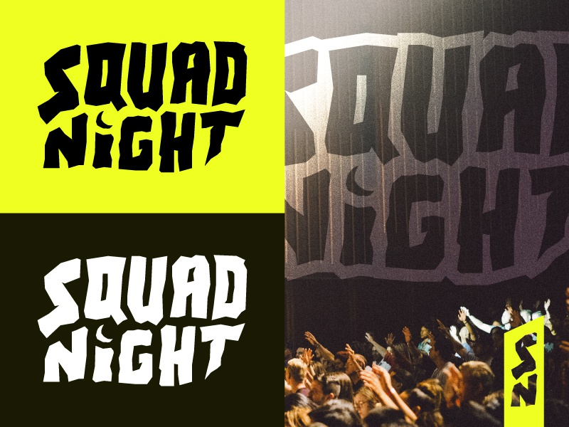 Squad Night - Branding youth group students identity branding logo church ministry hand lettering chunky yellow moon squad