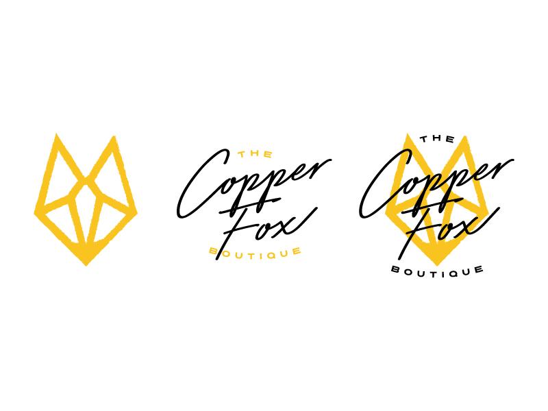 The Copper Fox Boutique - Brand Mark shop boutique logo sans serif script abstract animal gold yellow geometric fox