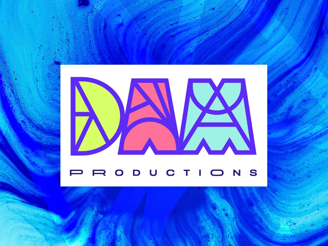 DAM Productions dam record label dj damn logo design brand logo production initials