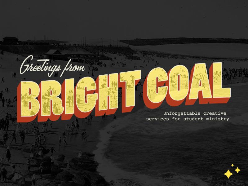 Bright Coal Postcard postcard design vintage retro church design postcard