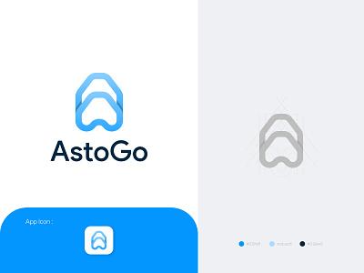 AstoGo Logo go astro brand identity abstract clean identity vector branding brand design logo brand design