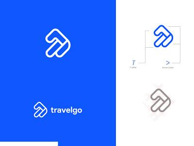 travelgo logo uidesign flat typography ux ui brand identity design vector t letter logo go travel traveling t letter identity branding logo design brand design brand identity brand