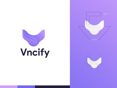 Vncify Logo v letter wave modern logo brand designer brand identity flat clean abstract ux abstract logo vector branding brand design brand design