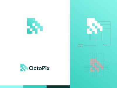 OctoPix Logo logos logo design octopus logo pixelart pixels octopix octopus illustration clean identity icon vector branding design brand logo brand design