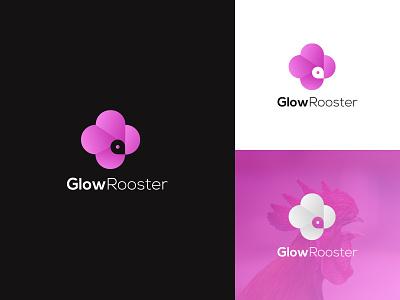 GlowRooster Logo abstract logo glow app design logo icon minimal flat clean branding design identity design brand design abstract rooster logo gradiant rooster