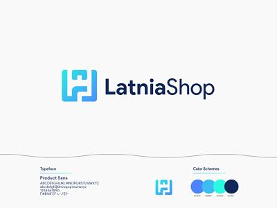 Latnia Shop Logo website logo shop logo s letter logo l letter logo design app brand identity abstract logo flat identity vector branding brand design brand design logo