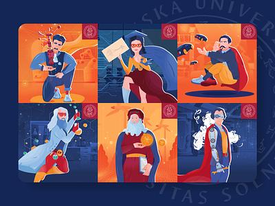 Uniza heroes da vinci benz tesla engineers engineer heroes hero character design character flat illustration flat illustrator vector illustration colors colorful color branding minimalist design