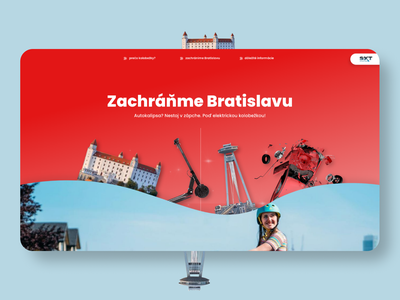 Zachráňme Bratislavu - web concept city scooter kick scooter ecommerce e-shop microsite presentation typography ux ui website web color branding minimalist design