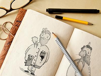 Happy bird guy sketch birds bird guy krita black and white design character design character sketchbook sketching sketch concept illustration