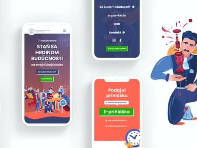 Zilinska strojarina heroes campaign university school presentation illustration colorful color branding website ux web design