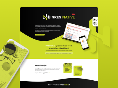 INRES native - landing page onepage landing page landingpage green typography colorful ui website ux web design