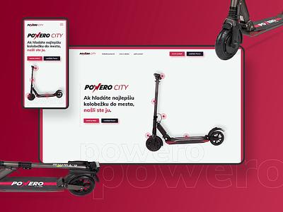 Powero City smart kickscooter scooter wheel red onepager onepage minimalistic minimal minimalist website web ux ui design