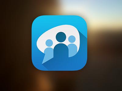 Paltalk icon chat video people blue talk message blur flat