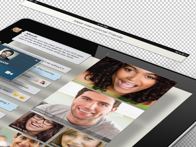 Video Chat  ipad ios blue video perspective chat mockup 3d app