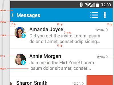Paltalk Android Spec sheet  spec style guide android dp pixel message sketchapp list