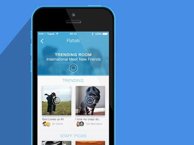 Room Feed  list chat blue header app ios7 ui rooms