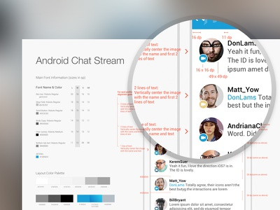 Android UI specing walkthrough android spec ui app phone ux wireframe redlines chat