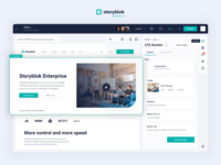 Storyblok UI Visual Editor builder user interface user experience landing page application ui flat icons website application design form ux dashboard cms storyblok application