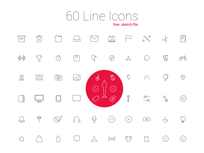60 Line Icon Set free download activecollab ux ui free line icons free icons sketch line icons