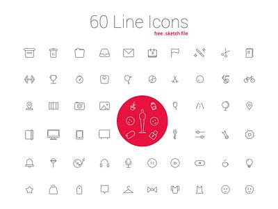 60 Line Icon Set free download activecollab ux ui free line icons free icons sketch line icons